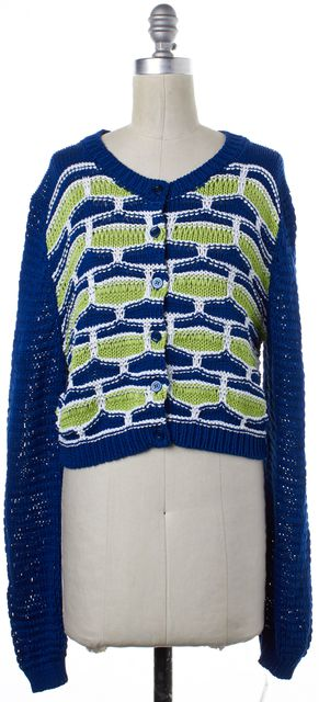 MOSCHINO CHEAP & CHIC Blue Green Geometric Cropped Long Sleeve Cardigan