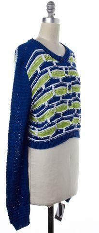 MOSCHINO CHEAP & CHIC Blue Green Geometric Cropped Long Sleeve Cardigan