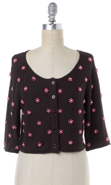 MOSCHINO CHEAP & CHIC Brown Floral Beaded Embellished Cardigan