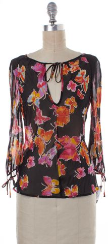 MOSCHINO CHEAP & CHIC Black Multi Butterfly Print Sheer Silk Top