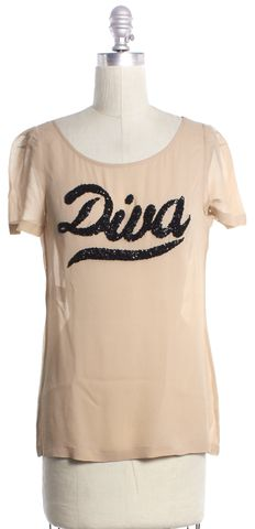 MOSCHINO CHEAP & CHIC Beige Graphic Sequin Silk Short Sleeve Top