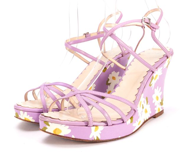 MOSCHINO CHEAP & CHIC Lilac Purple Floral Leather Sandal Wedges