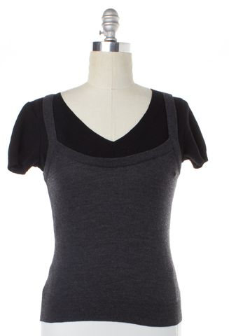 MOSCHINO CHEAP & CHIC Black Gray Wool V-Neck Short Sleeve Top