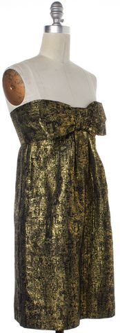 MOSCHINO CHEAP & CHIC Gold Abstract Print Bow Tie Sheath Dress