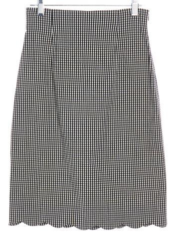 MOSCHINO CHEAP & CHIC Black White Gingham Scalloped Skirt