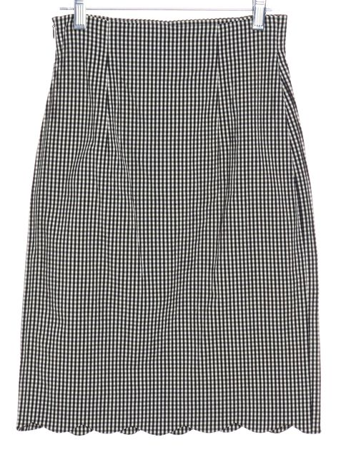 MOSCHINO CHEAP & CHIC Black White Gingham Scalloped Skirt