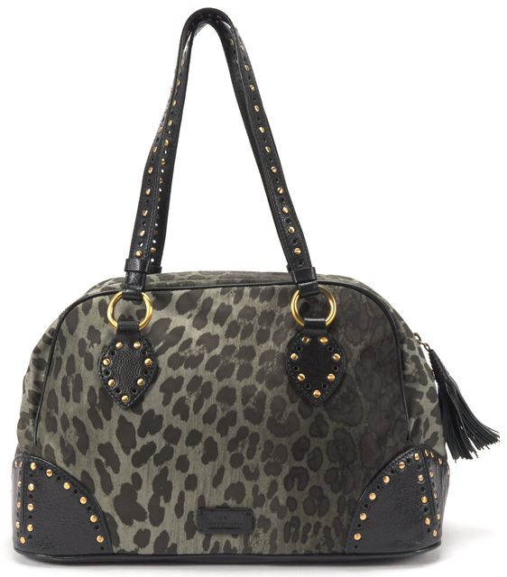 MOSCHINO CHEAP & CHIC Green Leopard Nylon Studded Leather Strap Shoulder Bag