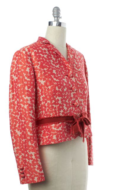 MOSCHINO CHEAP & CHIC Red White Floral Basic Cropped Jacket