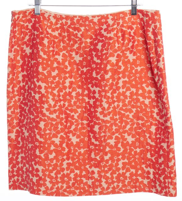 MOSCHINO CHEAP & CHIC Tan Shiny Orange Floral Linen Straight Skirt