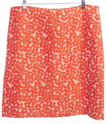 MOSCHINO CHEAP & CHIC Tan Shiny Orange Floral Linen Straight Skirt