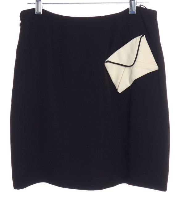 MOSCHINO CHEAP & CHIC Black A-Line Envelope Detail Skirt