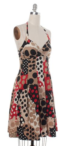 MOSCHINO CHEAP & CHIC Brown Polka Dot Fit & Flare Dress