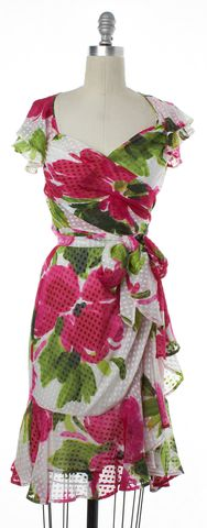 MOSCHINO CHEAP & CHIC Pink White Floral Silk Wrap Dress