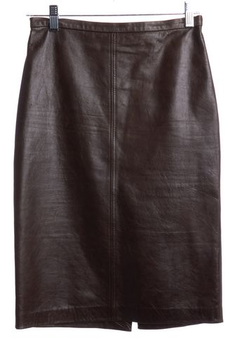 MOSCHINO CHEAP & CHIC Brown Leather Pencil Skirt