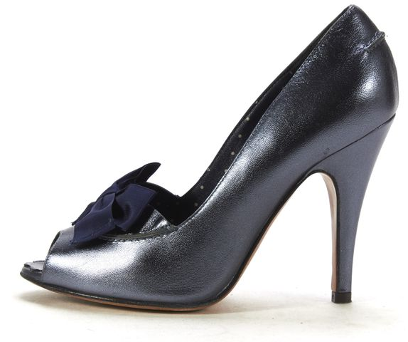 MOSCHINO CHEAP & CHIC Metallic Blue Peeptoe Pump Heels Sz 35.5