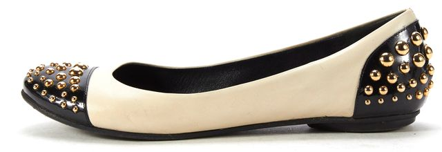MOSCHINO CHEAP & CHIC Ivory Leather Black Cap Toe Studded Flats
