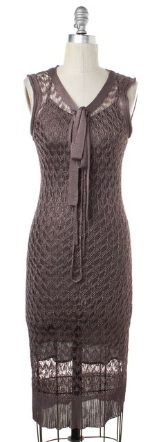 MOSCHINO CHEAP & CHIC Purple Open Knit Sleeveless Dress