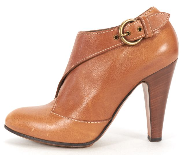 MOSCHINO CHEAP & CHIC Tan Leather Stacked Heel Ankle Boots