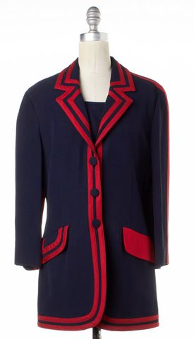 MOSCHINO CHEAP & CHIC Navy Red Trim Basic Jacket