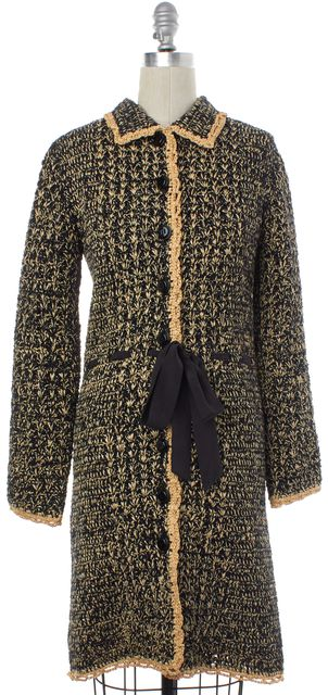 MOSCHINO CHEAP & CHIC Black Beige Raffia Woven Tweed Coat