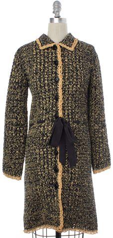 MOSCHINO CHEAP & CHIC Black Beige Raffia Woven Coat