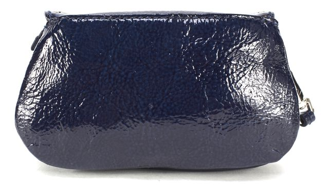 MOSCHINO CHEAP & CHIC Blue Patent Leather Silver Studded Coin Wallet Wrislet