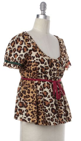 MOSCHINO CHEAP & CHIC Brown Leopard Print Red Bow Top