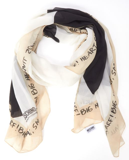 MOSCHINO CHEAP & CHIC Beige Big Heart Graphic Text Long Silk Scarf