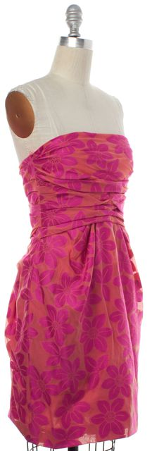 MOSCHINO CHEAP & CHIC Pink Coral Floral Strapless Sheath Dress