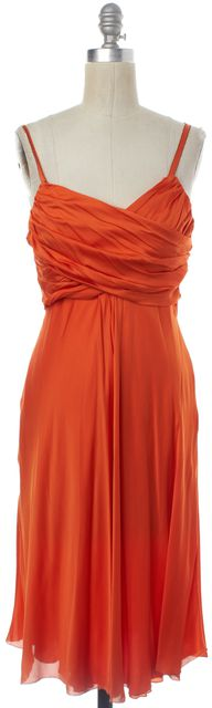 MOSCHINO CHEAP & CHIC Orange Silk Empire Waist Dress