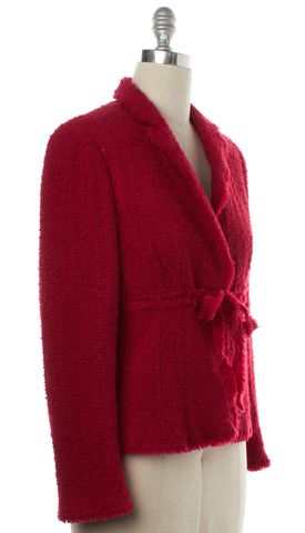 MOSCHINO CHEAP & CHIC Red Tweed Wool Basic Jacket