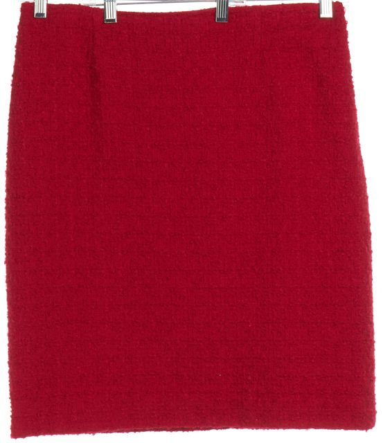 MOSCHINO CHEAP & CHIC Red Tweed Wool Straight Skirt