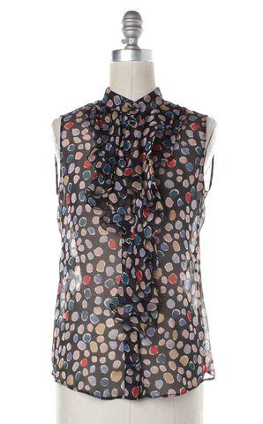 MOSCHINO CHEAP & CHIC Black Multi Abstract Sheer Silk Ruffled Blouse