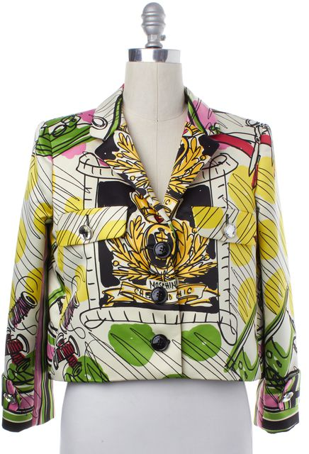 MOSCHINO CHEAP & CHIC Ivory Multi Paint Print Jacket