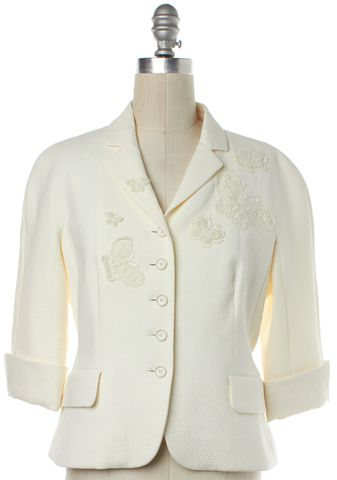 MOSCHINO CHEAP & CHIC Ivory Crochet Butterfly Jacket