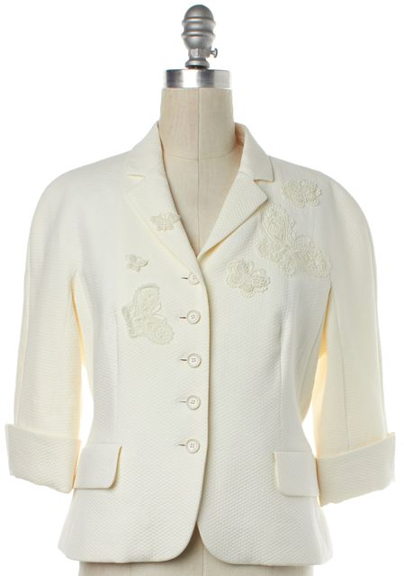 MOSCHINO CHEAP & CHIC Ivory Crochet Butterfly Jacket