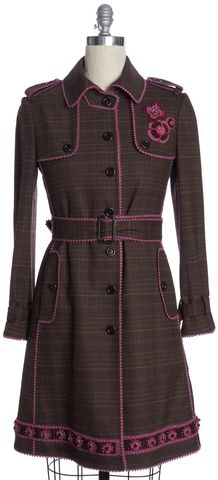 MOSCHINO CHEAP & CHIC Brown Pink Embellished Plaid Wool Trench Coat Size 6