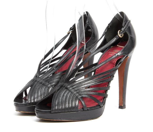 MOSCHINO CHEAP & CHIC Black Leather Strappy Sandal Heels