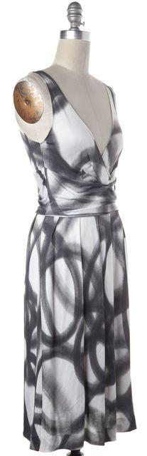MOSCHINO CHEAP & CHIC White Gray Print Dress