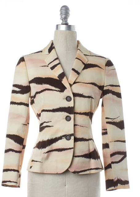 MOSCHINO CHEAP & CHIC Beige Brown Pink Printed Blazer
