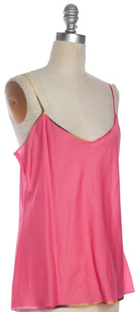MOSCHINO CHEAP & CHIC Pink Cotton Semi Sheer V Neck Tank Top