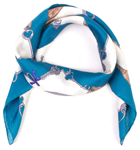 MOSCHINO CHEAP & CHIC Blue Graphic Silk Scarf