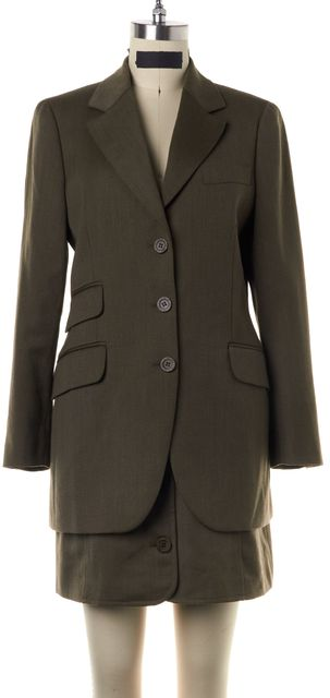 MOSCHINO CHEAP & CHIC Green Wool Skirt Suit Set