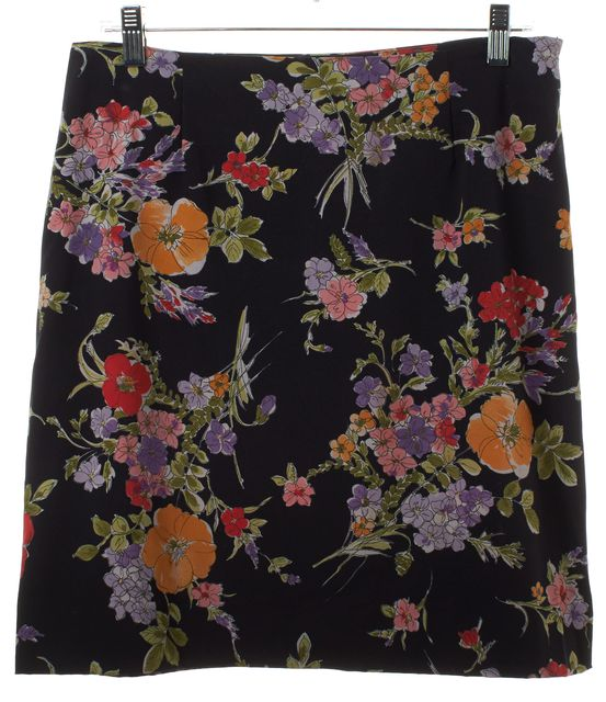 MOSCHINO CHEAP & CHIC Navy Blue Multicolor Floral Print Pencil Skirt