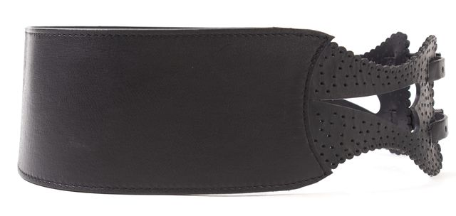 MOSCHINO CHEAP & CHIC Black Leather Cut-Out Belt