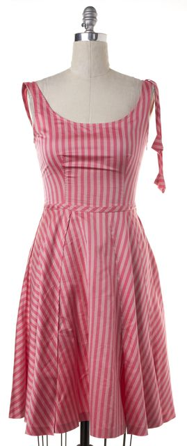 MOSCHINO CHEAP & CHIC Pink Striped Cotton Silk Fit & Flare Dress