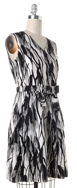MOSCHINO CHEAP & CHIC White Black Printed Sleeveless Fit Flare Dress