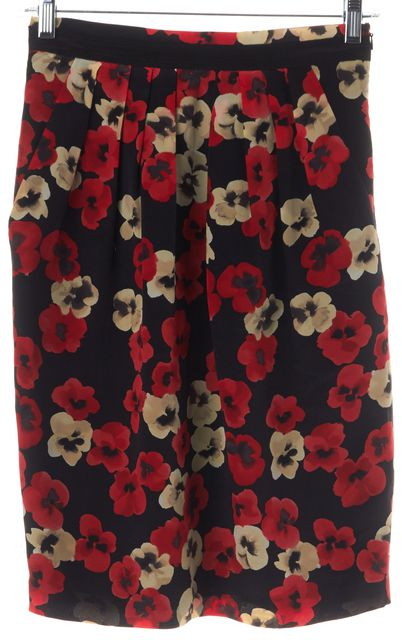 MOSCHINO CHEAP & CHIC Black Red Floral Abstract Print Silk Straight Skirt