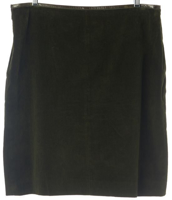 MOSCHINO CHEAP & CHIC Olive Green Straight Casual Corduroy Split Skirt