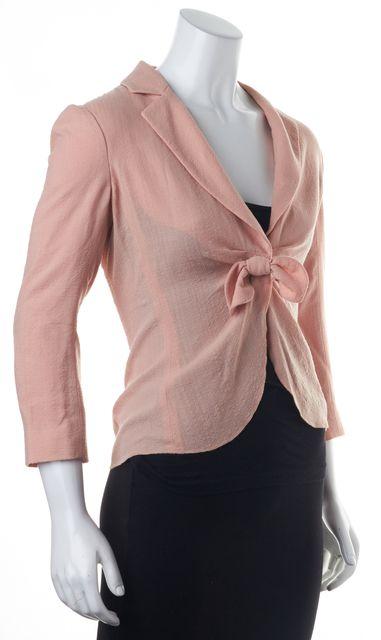 MOSCHINO CHEAP & CHIC Pink Front Tie Virgin Wool Blazer Jacket